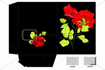 Decorative folder with red roses