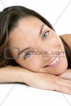 Beauty portrait of blue eyes brunette