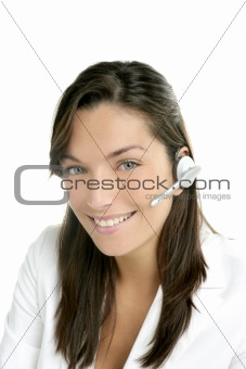 Beautiful headset businesswoman portrait in white