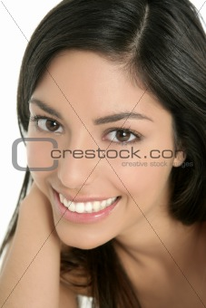 beautiful brunette indian woman closeup portrait