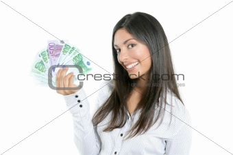 Beautiful success businesswoman holding Euro notes