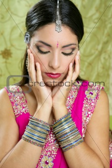 Beautiful indian brunette traditional fashion style