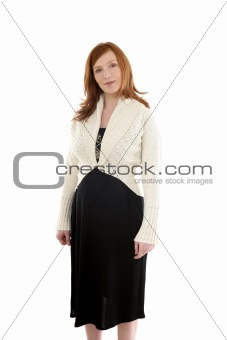Beautiful pregnant redhead woman fashion