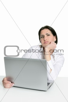 Angry sad bored woman laptop computer