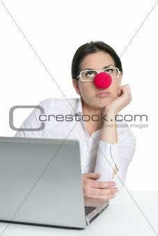 Alone office woman laptop clown nose