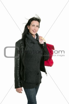 Black leather jacket shopper woman