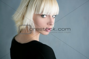 blonde beautiful fashion girl gray background