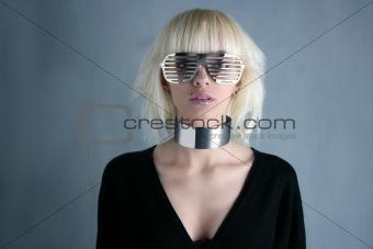 blonde fashion futuristic silver glasses girl  gray background