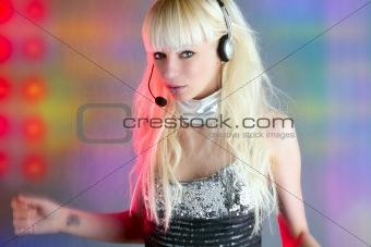 beautiful dancer fashion sequins headset woman