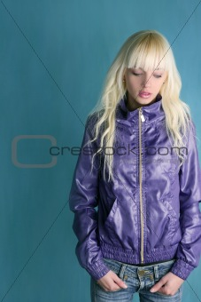 blonde fashion young girl purple jacket