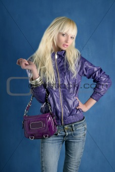 blonde fashion girl young woman purple bag