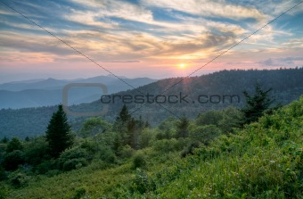 Mountains Sunset Landscape on Blue Ridge Parkway Evening