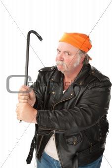 Man weilding a crowbar
