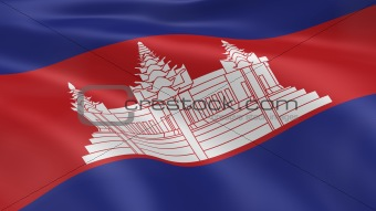 Cambodian flag in the wind