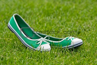 Green summer shoes