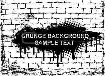 Grunge banner on brick wall. Vector