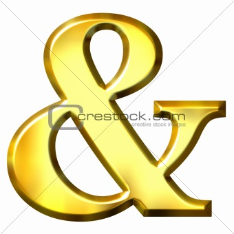 3D Golden Ampersand