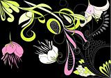 Decorative background with floral element