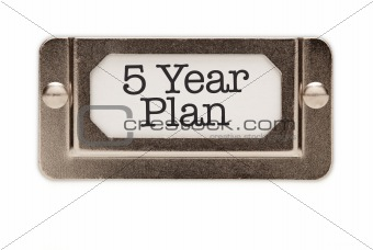5 Year Plan File Drawer Label Isolated on a White Background.