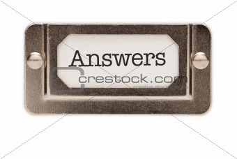 Answers File Drawer Label Isolated on a White Background.