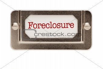 Foreclosure File Drawer Label Isolated on a White Background.