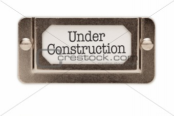 Under Construction File Drawer Label Isolated on a White Background.