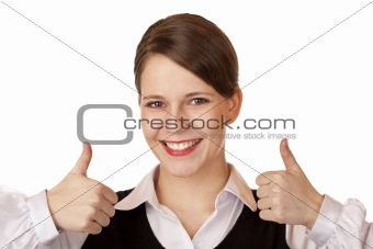 Casual young attractive businesswoman shows both thumbs up