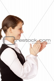 Attractive businesswoman claps with hands