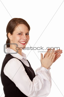 Attractive laughing businesswoman claps with hands