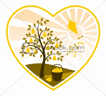 pear tree and kite in heart