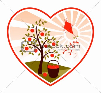 apple tree and kite in heart