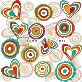 Background with hearts and circles
