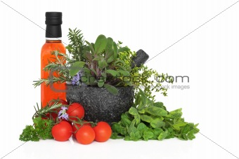 Chili Oil, Herb Leaves and Tomatoes