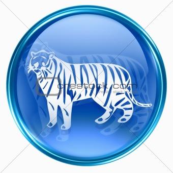 Tiger Zodiac icon blue, isolated on white background.