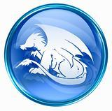 Dragon Zodiac icon blue, isolated on white background.