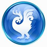 Cock Zodiac icon blue, isolated on white background.