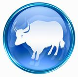Ox Zodiac icon blue, isolated on white background.