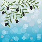 Floral background with an olive branch