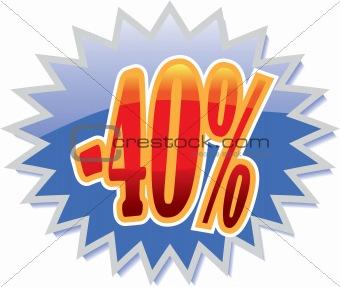40% discount label