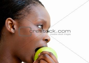 Cute woman eating apple