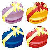 vector illustration of gift boxes in heart shape