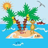 Island with monkey and palms.