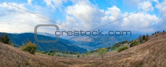 autumn morning country mountain panorama