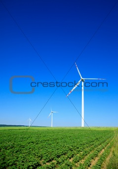 small group of wind turbines
