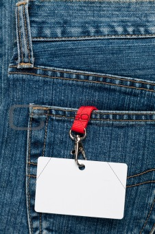 Blank badge in a pocket