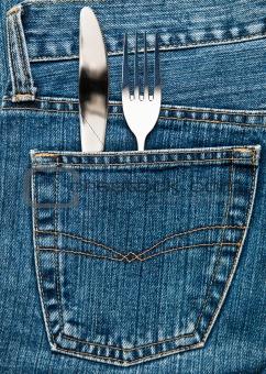 Flatware in a pocket
