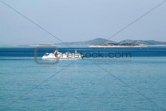 Small cruiser sailing outside in Croatia