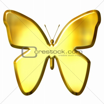 3D Golden Butterfly