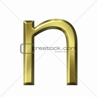 3d golden letter n