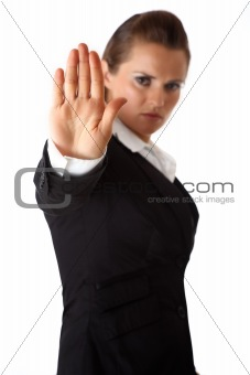 business woman showing stop gesture